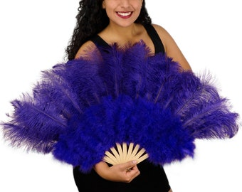 REGAL Ostrich and Marabou Feather Fan - For Burlesque Fan Dance, Boudoir Photoshoot Accessory, Showgirl Costume & Halloween Events ZUCKER®