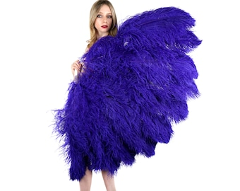 REGAL X-Large Prime Ostrich Feather Fan - For Stage & Theater, Burlesque Fan Dance, Showgirl Costume, Boudoir, Editorial Photoshoots ZUCKER®