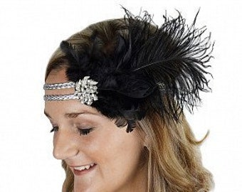 Black & Silver Great Gatsby - Harlem Nights - Roaring 20's - Costume Feather Headband ZUCKER®