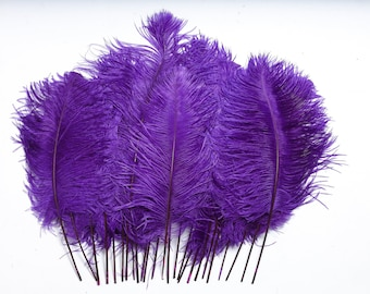 """Regal Purple Ostrich Feather Tips, 16-18"""" Ostrich Tails 30 Pieces for Millinery & Floral Design, DIY Costume, Carnival, Mardi Gras ZUCKER®"""