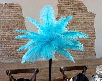 LT. TURQUOISE Ostrich Feather Centerpiece Sets w/Eiffel Tower Vase - For Great Gatsby Party, Special Event & Wedding Reception Decor ZUCKER®