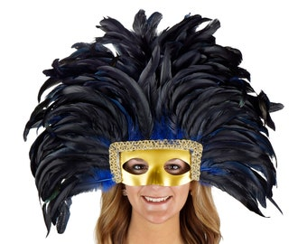 Feather Headdress ROYAL BLUE with Gold Removable Masquerade Mask -  Cultural Dance, Carnival and Halloween Costume Feather Headdress ZUCKER®