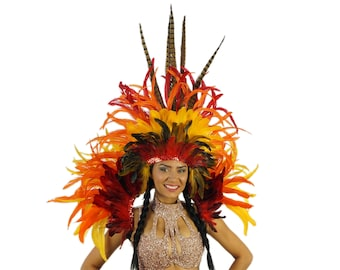 Empress Sun Feather Costume Set for Carnival & Samba - ZUCKER® Feather Place Original Designs - Unique Fantasy Costume Dance Wear