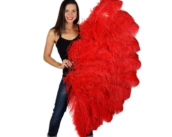 RED X-Large Prime Ostrich Feather Fan - For Stage & Theater, Burlesque Fan Dance, Showgirl Costume, Boudoir, Editorial Photoshoots ZUCKER®