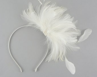 Feather Fascinator Headbands White - with Stripped Coque feathers on a satin wrapped headband for Special Events, Weddings & Prom
