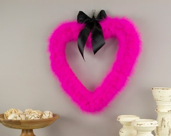 Decorative Pink Heart Shaped Feather Wreath, Wedding, Engagement, Valentines Day, Door Wreath & Wall Decor for Home and Office ZUCKER®