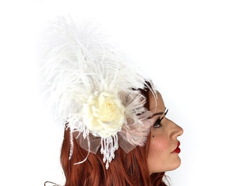Victorian Ivory Feather Fascinator with Pearl Accents - For Costume Parties, Halloween and Special Events ZUCKER® Feather Place Originals