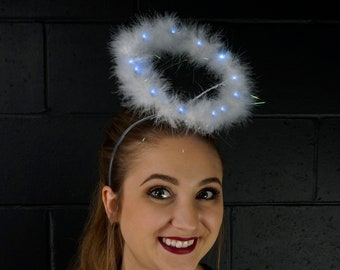 Marabou Feather Angel Costume Halo, White with LED Lights Angel Halo, Angel Halo, White Halo, Halloween or Holiday Costume ZUCKER®