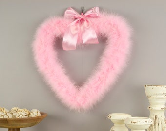 Decorative Candy Pink Heart Shaped Feather Wreath, Wedding, Engagement, Valentines Day, Door Wreath & Wall Decor for Home and Office ZUCKER®