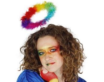 Rainbow Marabou Feather Angel Costume Halo, Angel Halo, PRIDE Halo, Halloween or Holiday Costume ZUCKER®