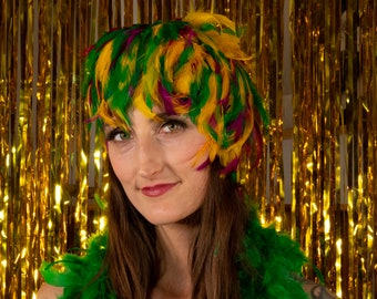 Mardi Gras Feather Wig, Dyed Rooster Hackle Wig, Costume Feather Wig for Halloween and Carnival, Photography Props, Costume Wigs ZUCKER®