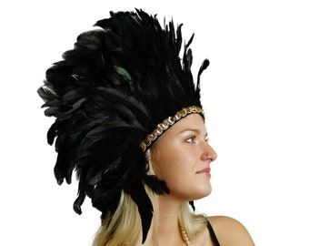 Spirit Feather Headdress BLACK with Gold Details - Halloween & Carnival Costume, Festival Feather Headdress ZUCKER®