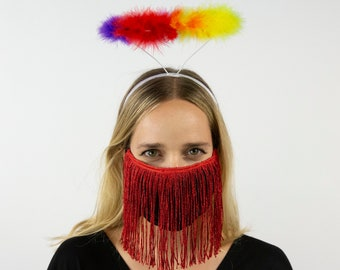 Rainbow Halo and Metallic Red Fringe Mask, Marabou Feather Angel Costume Halo, Angel Halo, PRIDE Halo, Halloween or Holiday Costume ZUCKER®