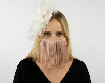 Fitted Fringe Mask, Champagne Blush Pink Reusable Face Mask, Washable, Halloween Covid Mask, Face Mask, Face Covering ZUCKER®