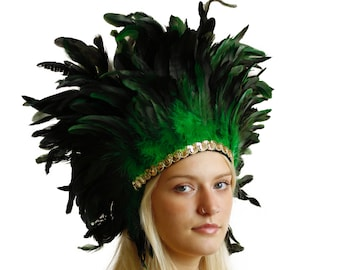 Spirit Feather Headdress GREEN with Gold Details - Halloween & Carnival Costume, Festival Feather Headdress ZUCKER®