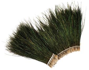"Peacock Flue, 8-10"" NATURAL Iridescent Green Peacock Flue, Long Peacock Herl Feathers ZUCKER®"