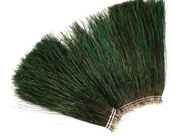 "Peacock Flue, 10-12"" NATURAL Iridescent Green Peacock Flue, Long Peacock Herl Feathers ZUCKER®"