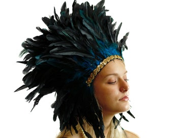 Spirit Feather Headdress TURQUOISE with Gold Details - Halloween & Carnival Costume, Festival Feather Headdress ZUCKER®