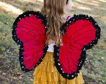 Red and Black Costume Butterfly Wings- Lady Bug Butterfly - Zucker Feather Place Original Designs - Feather Costume/Cosplay Wings ZUCKER®