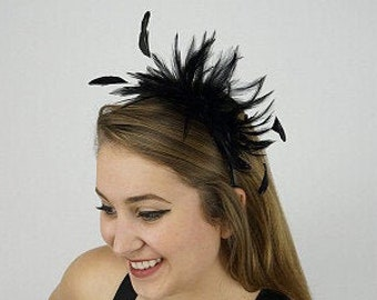 Black Feather Headband - For Special Event, Prom and Weddings - Feather Fascinator & Fashion Accessory ZUCKER®