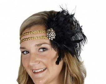 Black and Gold Great Gatsby - Harlem Nights - Roaring 20's - Costume Feather Headband & Fashion Accessory ZUCKER®