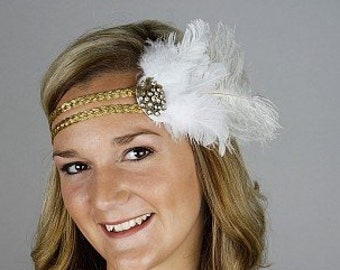 White and Gold Great Gatsby - Harlem Nights - Roaring 20's - Costume Feather Headband & Fashion Accessory ZUCKER®