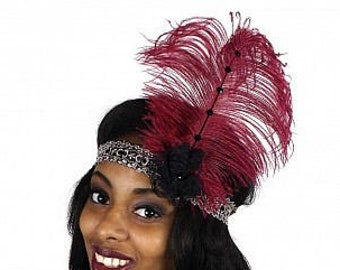Burgundy and Black Flapper Great Gatsby Roaring 20's Feather Headband -  Halloween Costume Ostrich Feather Headband ZUCKER®