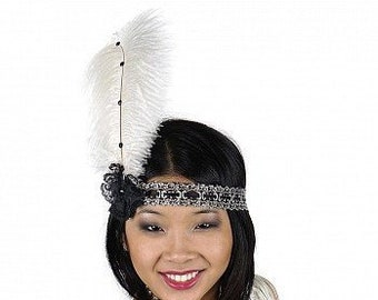 Ivory and Black Flapper Great Gatsby Roaring 20's Feather Headband -  Halloween Costume Ostrich Feather Headband ZUCKER®