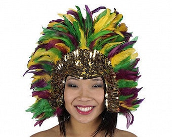 Mardi Gras Feather Headdress with Sequin Details - Carnival Costume and Showgirl Feather Headdress ZUCKER®