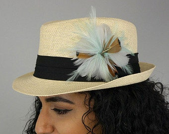 Mint and Silver Feather Flower Corsage with Felt Back - For DIY Headbands, Hat & Lapel Trim, Hair Accessory or Corsages ZUCKER®