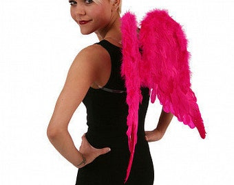 Pink Angelique Angel Costume Feather Wings - ZUCKER® Feather Place Original Designs - Premium Fantasy Feather Costume & Cosplay Wings