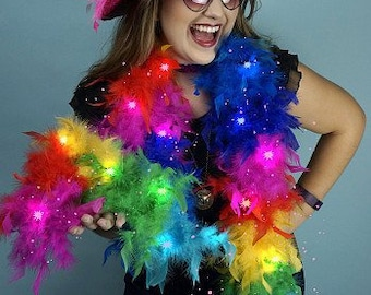 Rainbow Feather Boa with LED Fairy Lights - Medium Weight Rainbow Chandelle Feather Boa