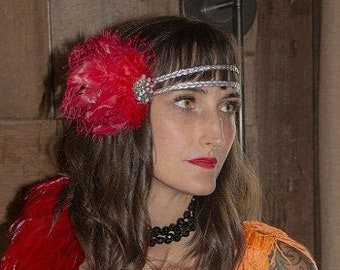 Red and Silver Great Gatsby - Harlem Nights - Roaring 20's - Costume Feather Headband & Fashion Accessory ZUCKER®
