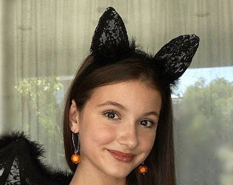 Marabou Feather and Lace Bat or Cat Ear Headbands - For Halloween and Costume Parties