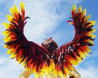 Rising Phoenix Costume Wings, Fire Bird Costume Wings, Unique Premium Fantasy Feather Costume Wings & Cosplay Accessory ZUCKER®