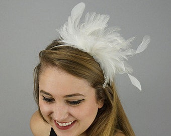 White Feather Headband - For Special Event, Prom and Bridal Feather Fascinator & Fashion Accessory ZUCKER®