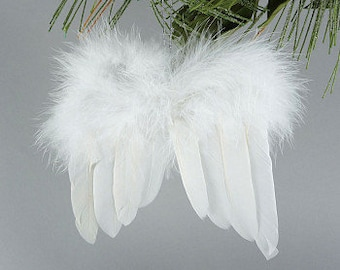 Decorative White Angel Wing Feather Ornament - Angel Wings Ornaments for Holiday and Party Decor ZUCKER®