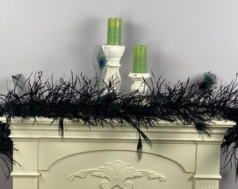 Decorative Large Black Feather Garland, Goose Biots and Peacock Feathers For Halloween, Christmas, New Years Holiday and Home Decor ZUCKER®