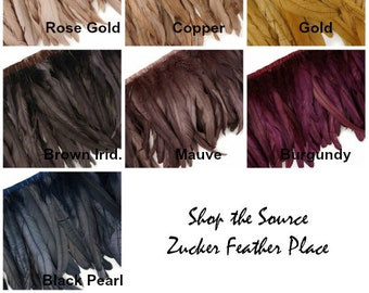Metallic Rooster Feather Fringe - Metallic Iridescent Coque Tail Feather Fringe FCQND10 1 YARD ZUCKER™