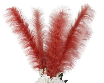 Faux Ostrich Feather Stems, Pink Large Fake Ostrich Feathers, Fake Feathers for Centerpieces, Home & Party Decor, Office Decor ZUCKER®
