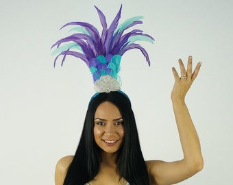 Tropical Breeze Carnival & Samba Feather Costume Headband - ZUCKER® Feather Place Original Designs - Unique Fantasy Costume Dance Wear