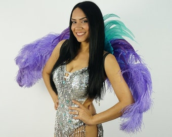 Tropical Breeze Carnival & Samba Feather Costume Back Piece - ZUCKER® Feather Place Original Designs - Unique Fantasy Costume Dance Wear
