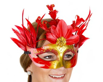 Queen Of Hearts Red and Gold Feather Mask - Halloween Mask, Cosplay, Masquerade Ball, Festivals, Parties and Special Events ZUCKER®