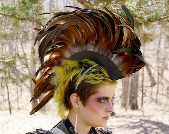 Natural Half Bronze Feather Mohawk Headdress - Festival, Burning Man, Mad Max, Rave Wear ZUCKER® Feather Place Original Designs