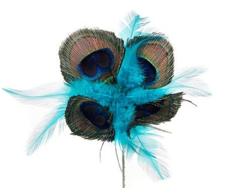 Natural Peacock Feather Flower with Dark Aqua Feather Accents - Decorative Feather Flower Stem for Event and Home Decor ZUCKER®
