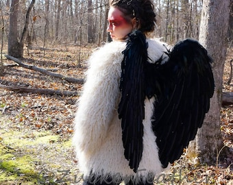 Black Feather Costume Angel Wings - ZUCKER®Feather Place Original Designs - Premium Fantasy Feather Costume & Cosplay Wings