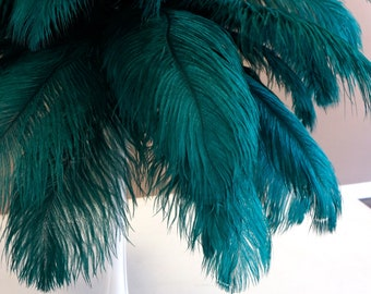 """Ostrich Feathers 17-20"""" TEAL, 1 to 25 pcs, Ostrich Plumes, Carnival Samba, Ostrich Drab, Mardi Gras, Centerpieces, Feather Fan, ZUCKER® USA"""
