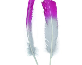 Magenta & Silver Two Tone Ombre Tipped Turkey Round Feathers For Cultural Arts and Crafts, Carnival and Costume Design ZUCKER®