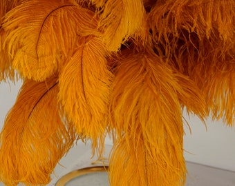 """Large Ostrich Feathers 25 Pieces 17-25"""" Prime Ostrich Femina Wing Plumes MARIGOLD, Wedding Centerpiece, Carnival Feathers ZUCKER® USA"""