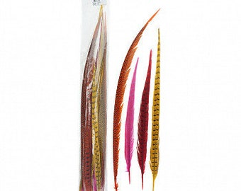 "FIESTA 16-30"" Dyed Ringneck and Golden Pheasant Tail Feathers 25pc/pkg - Assorted Colors for Millinery, Carnival and Cultural Arts ZUCKER®"